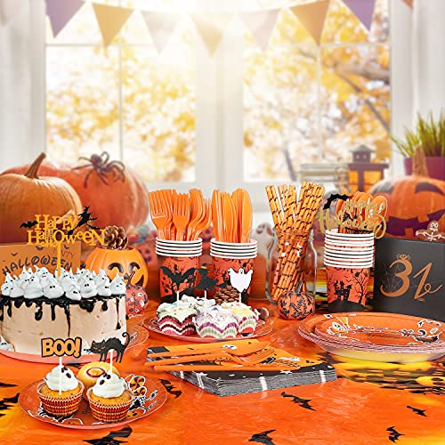 Halloween Party Supplies for Kids Halloween Party Tableware set 160 PCs All-in-One Pack Includes Halloween Theme Tablecloth Paper Plates Napkins Cups Straws and cake Toppers for Halloween Party Decorations