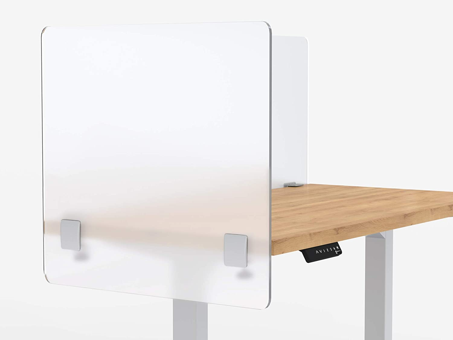 """VaRoom Privacy Partition and Sneeze Guard, Frosted Acrylic Clamp-on Desk Divider – 30"""" W x 24""""H Privacy Desk Mounted Cubicle Panel"""