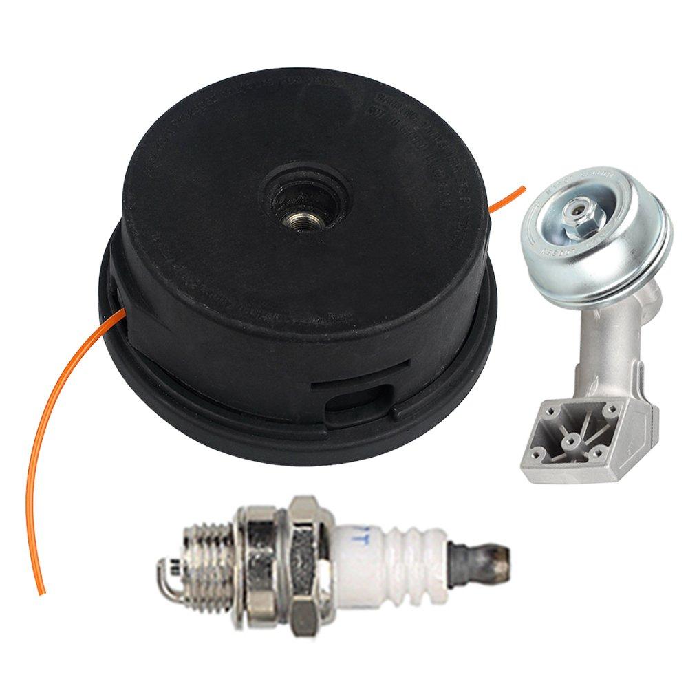 Hilom Trimmer Head with Gear Box Head Housing for Stihl Auto Cut Go 25-2 Brushcutter FS45 FS48 FS50 FS51 FS55 FS60 FS74 FS76 FS80 FS83 FS85 FS90 FS100 FS106 FS120 Bump Feed String 4002 710 2191