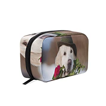10741172b72e Amazon.com : Lover Dog Wearing Hat Cosmetic Bag Black Zipper Storage ...