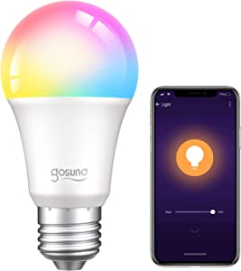 Smart Light Bulb Works with Alexa Google Home, Gosund E26 RGB Color Changing Light Bulb with App 8W A19 Dimmable Smart LED Bulb 75W Equivalent, 2.4GHz WiFi Only, No Hub Required