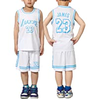 Lakers Kids Basketball Jerseys Sets,23# Lebron James Jersey 2 Pieces Suits, Boys and Girls Performance Training Vest…