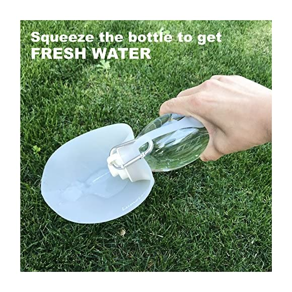LumoLeaf Portable Pet Water Bottle, Reversible & Lightweight Water Dispenser Dogs Cats, Made Food-Grade Silicone (20 oz) - Green
