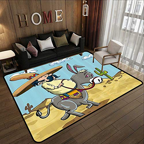 "Outdoor Rugs,Cartoon,Mexican Man Wearing Sombrero Hat Riding a Donkey in The Desert with Cactus Plants,Multicolor 47""x 71"" Outdoor Floor Mats"