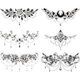 glaryyears 6 Sheets Black Underboob Tattoo for Women, Flower Moon Bowknot Rose Designs Temporary Tattoo Stickers on Chest Wai