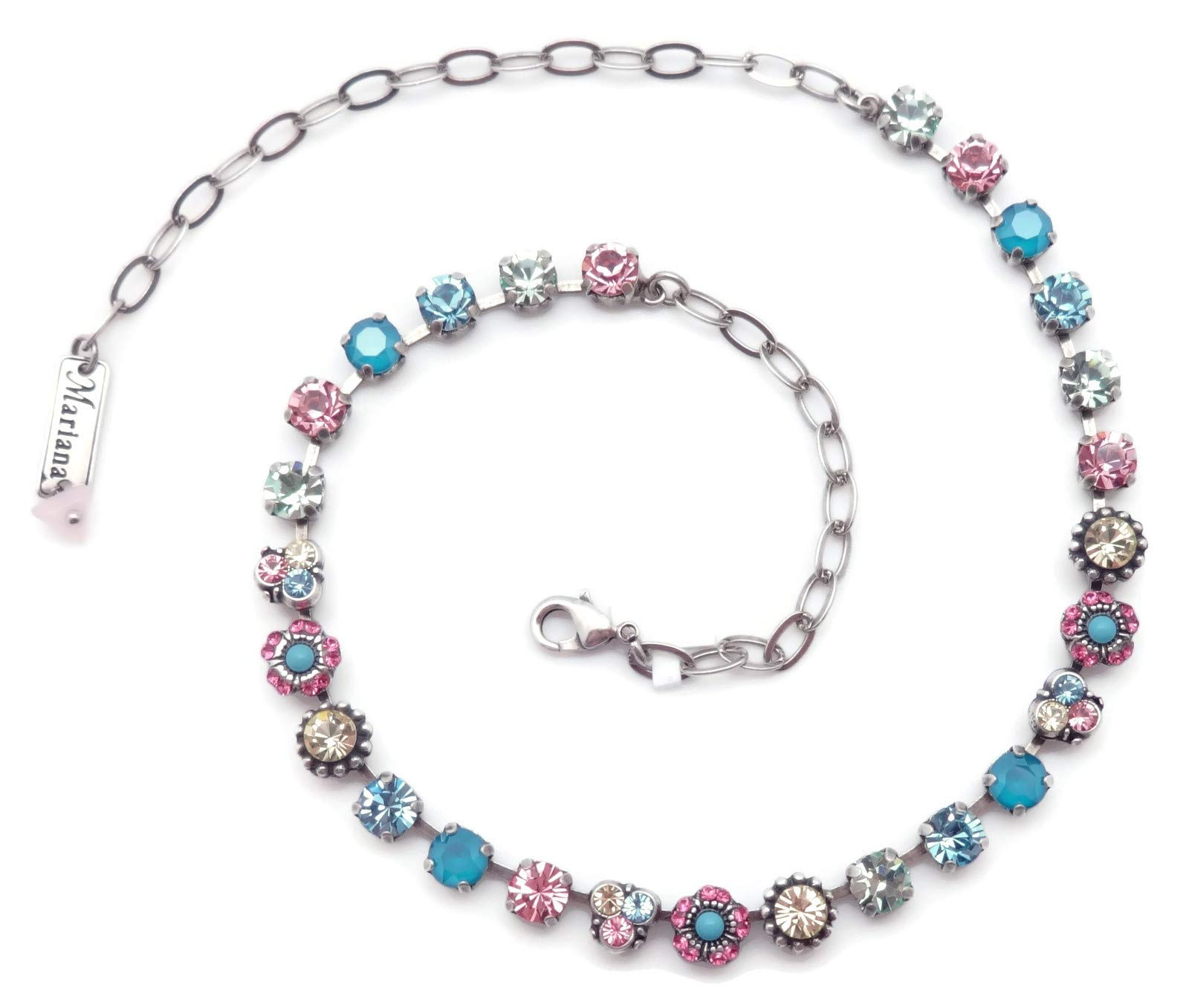 Mariana Spring Flowers Swarovski Crystal Silvertone Necklace Blue Pink Yellow Green Mix Mosaic 125 by Mariana (Image #3)