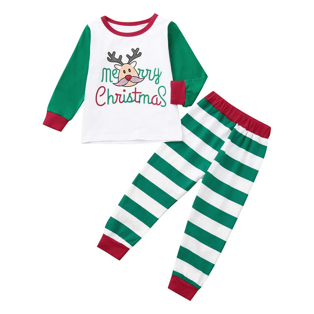 Merry Christmas Baby Clothes Set,2pcs Vovotrade Toddler Boys Girls Stitching Long Sleeves Top Xmas Deer Letter Print Pullover +Stripes Pants Outfit Christmas Set
