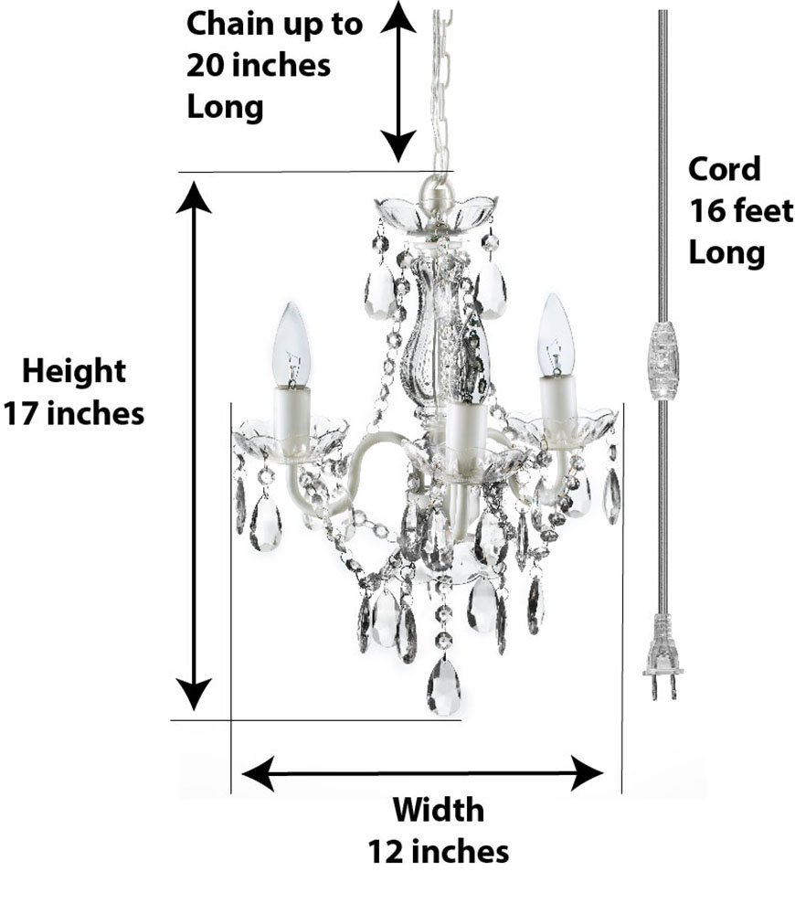 The Original Gypsy Color 3 Light Mini Plug In Crystal Chandelier For Parts Diagram H17 W12 White Metal Frame With Clear Acrylic Crystals Better Than Glass
