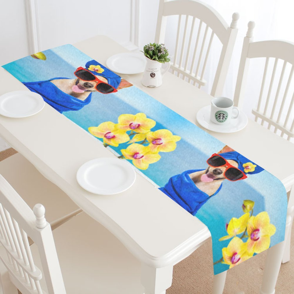 Silly Meow Custom Table Runners Spa Dog Table Runner Home Decor Placemat for Office Kitchen Dining Room Wedding Party 16 x 72 inch