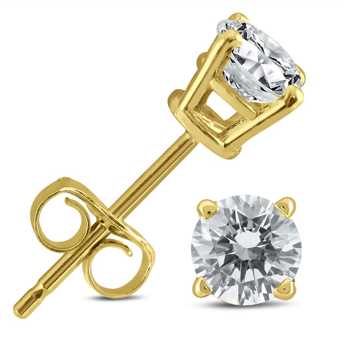 1/2 Carat TW AGS Certified Round Diamond Solitaire Stud Earrings in 14K Yellow Gold by Szul