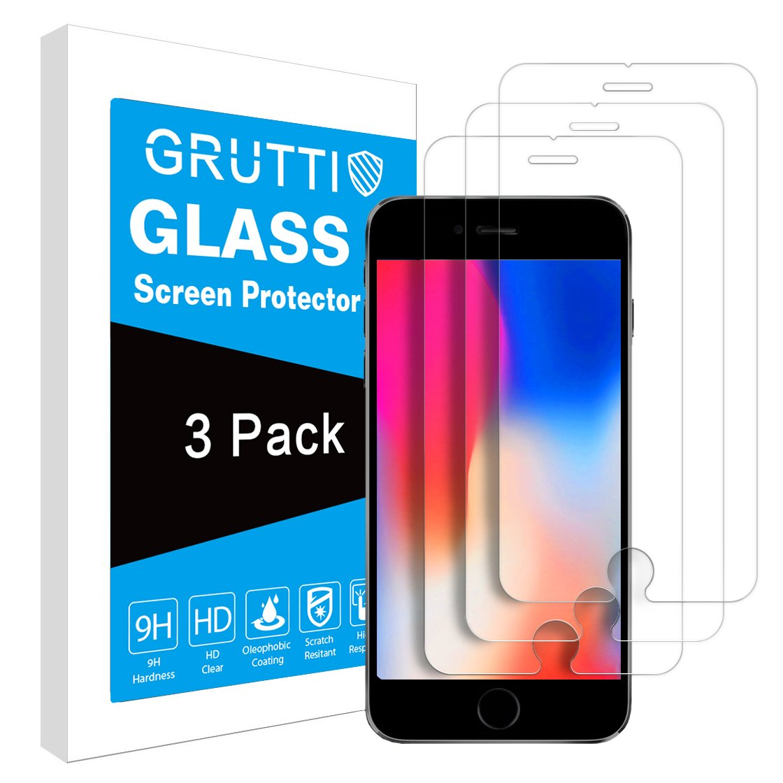 3-Pack Screen Protector for Apple iPhone X/iPhone Xs Tempered Glass Film Case Friendly GRUTTI