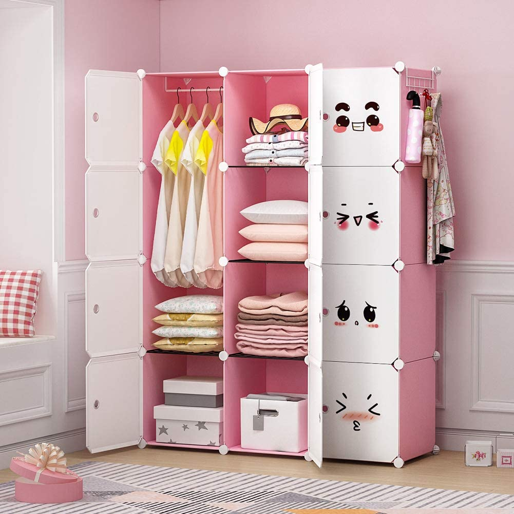 George Danis Portable Wardrobe Closet Armoire Plastic Dresser Bedroom Cube Storage Organizer 4x5 Tiers Black 18 Inches Depth Closet Systems Home Kitchen