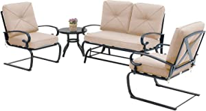Betterland Outdoor Furniture 4Pcs Patio Conversation Sets (Glider, Bistro Table, 2 Spring Chairs) Swing Glider Wrought Iron Frame Patio Metal Lounge Chairs Set with Brown Cushions