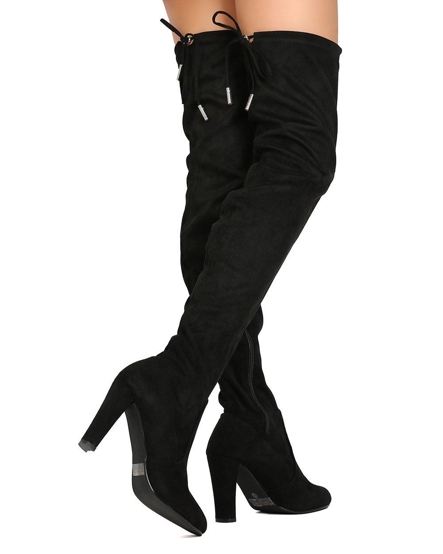 1b1135092b0 Botas de muslo para mujer sobre la rodilla Botas de vestir de tacón alto de  media caña Negro