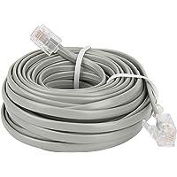 Uvital Cable de extensión de teléfono fijo de 50 pies con conectores estándar RJ-11 6P4C (gris 15,3 m, 1 paquete)