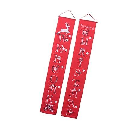 NUOBESTY Feliz Navidad Banner 1 par Cartel de Porche ...
