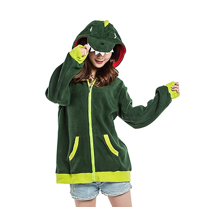 DarkCom Unisex Cute Fleece Hoodie Cartoon Dinosaur Zipper Sweatershirt Long Sleeve Tops at Amazon Womens Clothing store: