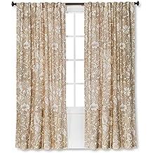 Threshold Jacobean Dot Floral Pattern Window Curtain Panel (54WX84L, Shell)