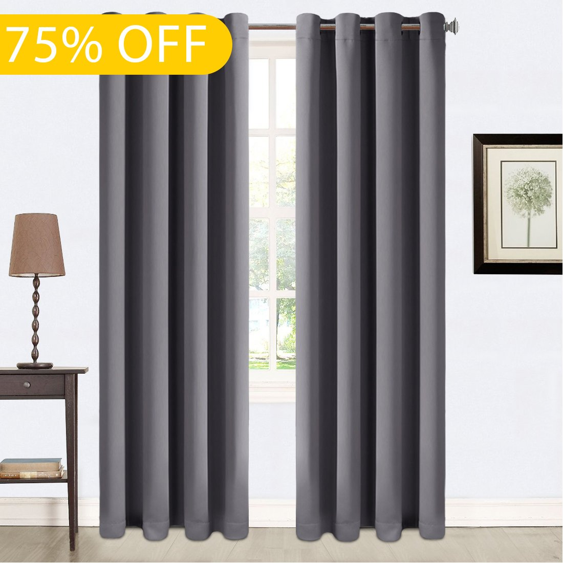 Balichun Darkening Thermal Insulated Blackout Grommet Window Curtain