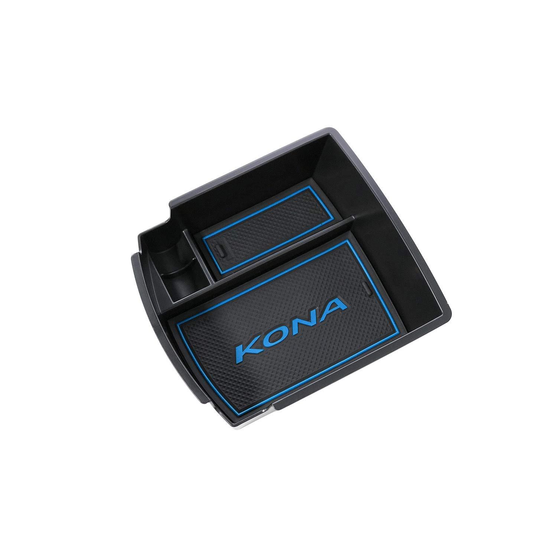RUIYA Central Console Box bracciolo su misura per Hyundai Kona 2018, vano portaoggetti Console Storage Box inserto vassoio, accessorio auto (Verde)