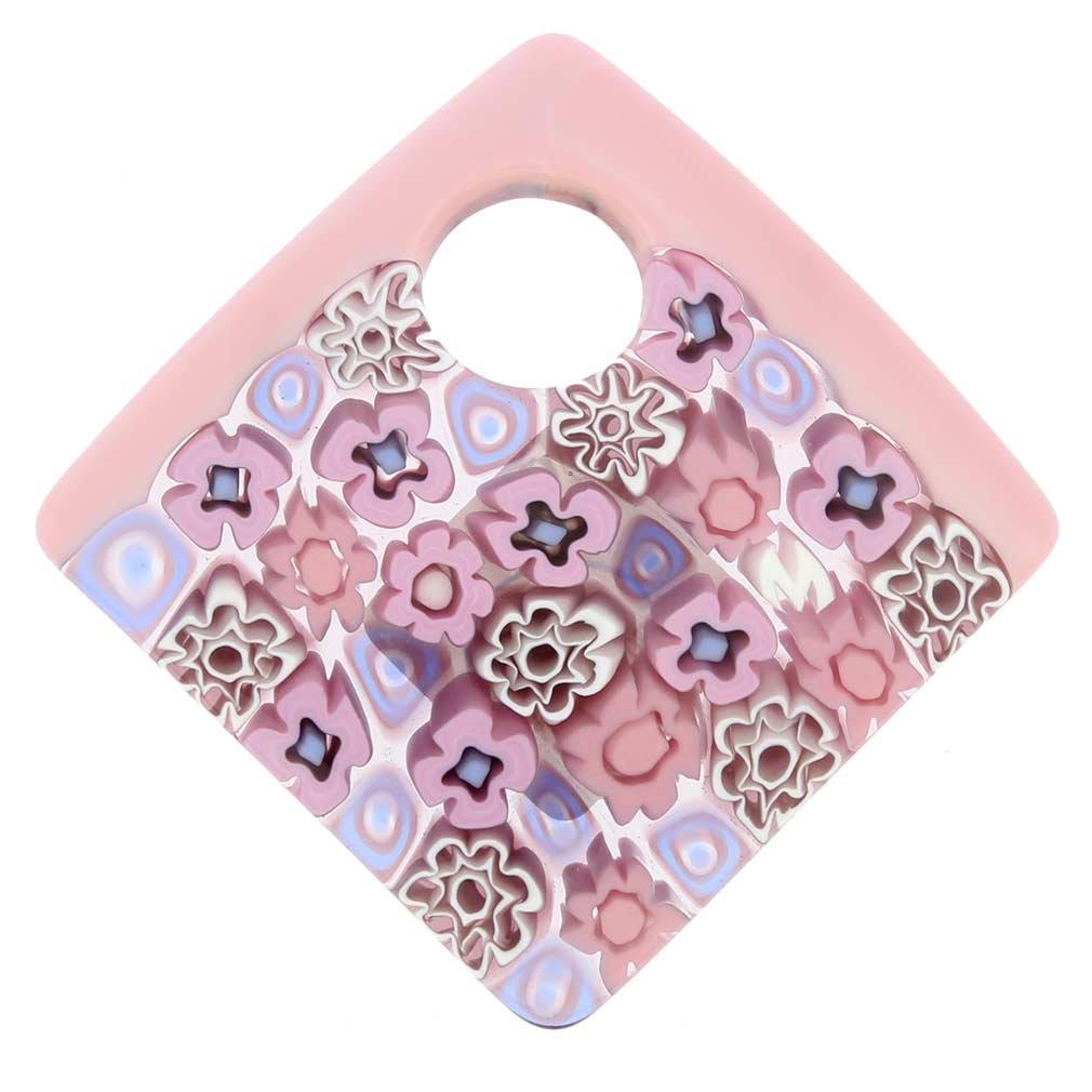 GlassOfVenice Murano Glass Curved Square Millefiori Pendant Pink