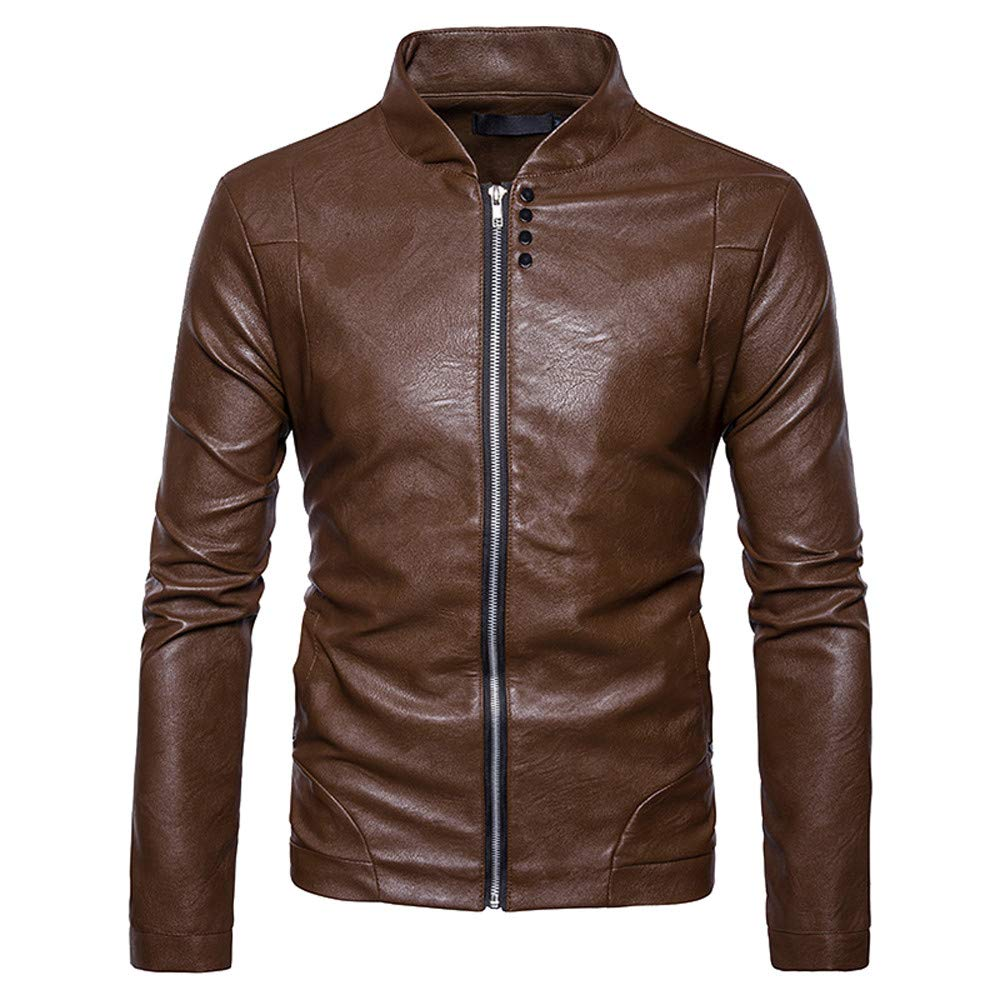 Faionny Men PU Leather Jacket Slim Solid Coat Stand Collar Parka Zipper Jacket Coat Long Sleeve Blazer Autumn Winter Outwear