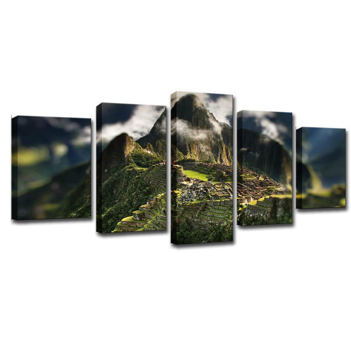 LWPCP Canvas HD Print El Mural Decoración para El Print Hogar Pintura Cartel Montaña Nube Montaña Exposición Imagen De Arte (5Pcs),S 445740