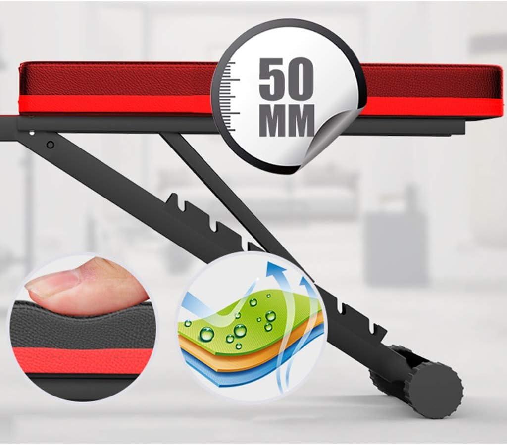 Schwarz Compact Flach-Brett for Abdomen Crunch Exercise Bench DWW Faltbare Schwere Hantel Hantelbank Verstellbare Sit-ups Scottcurls Workout Bench Mit Fitness Seil