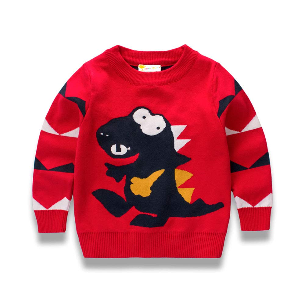 Little Hand Toddler Boys Sweater Kids Jumpers for Winter Sweatshirt Knit Pullover Long Sleeve T Shirt Cartoon Dinosaur Shirt 100% Cotton (1-7 Years)