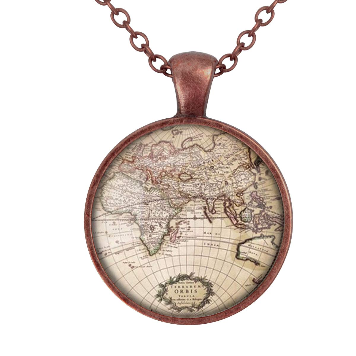 Lightrain Retro World Map Pendant Necklace Vintage Bronze Chain Statement Necklace Handmade Jewelry Gifts