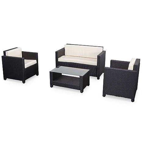 Alices Garden - Muebles de Jardin, Conjunto Sofa de Exterior, Negro Crudo, 4 plazas, Ratan Sintetico, Resina Trenzada - Perugia