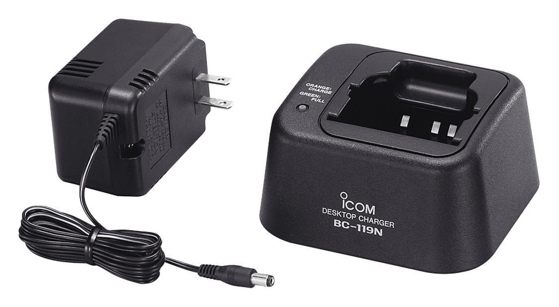 BC-119N 51 IC-BC119N 51 Icom Original Desktop Charger Comes with BC-145A and BC-119N Desktop Base. AD Adapter Cup Not Included