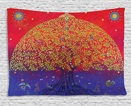 - Ambesonne Ethnic Tapestry, Sacred Bodhi Tree of Life Themed Eastern Ancient Growth Ethnic Artwork Print, Wall Hanging for Bedroom Living Room Dorm, 60 W X 40 L Inches, Scarlet Blue