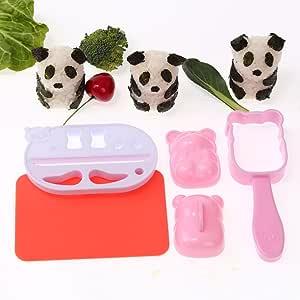 Panda Shape Sushi Rice Ball Onigiri Maker Mold Kit Nori Punch DIY Bento tools