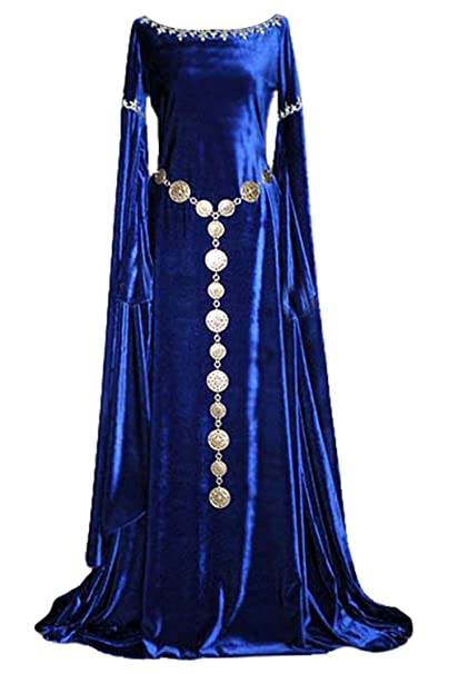 Women Medieval Costume Lace Up Vintage Floor Length Halloween Dress Blue Medieval Fancy Dress (No Belt)
