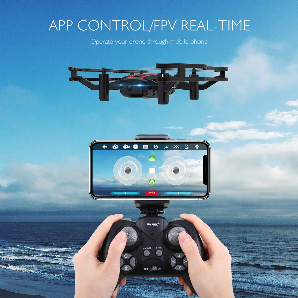 Drones with Camera - AKASO A21 Quadcopter Drone with 720P HD FPV WiFi RC Drone for Kids Beginners Adults - with One Key Take-Off/Landing, Optical Altitude Hold