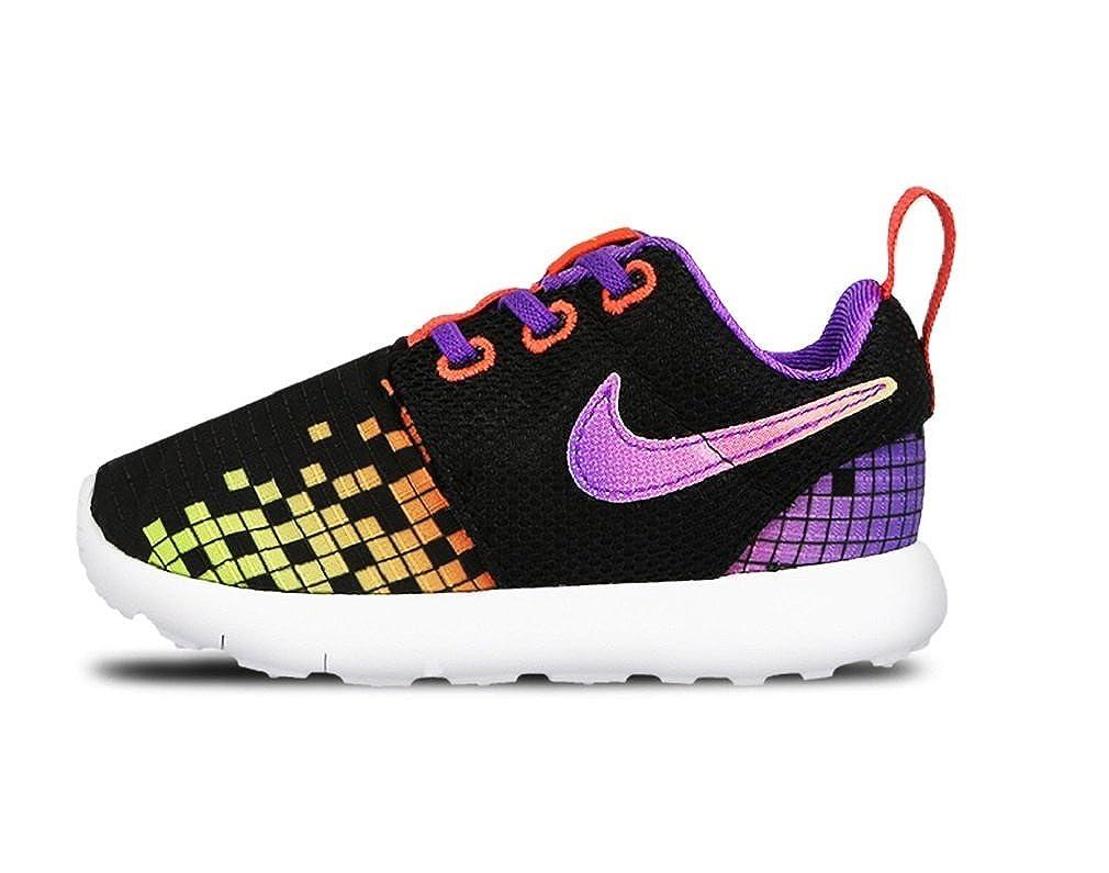 super popular 56591 a1969 Nike Roshe ONE Print (TDV) Girls Running-Shoes 749354-003 9C - Black White-Hyper  Violet-Volt  Amazon.in  Shoes   Handbags