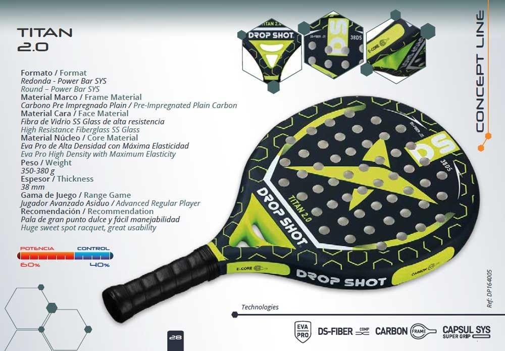 Drop Shot - Raqueta de pádel | Titan 2.0: Amazon.es: Deportes y aire libre
