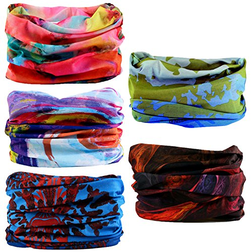 Oureamod Wide Headbands for Men and Women Athletic Moisture Wicking Headwear for Sports,Workout,Yoga Multi Function (Pattern 4)