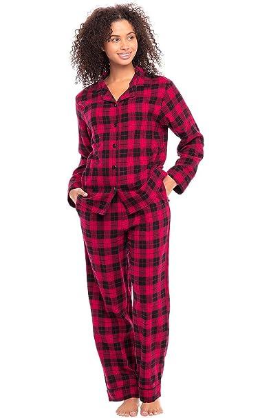 100% top quality hot sale catch Alexander Del Rossa Women's Warm Flannel Pajama Set, Long Plaid Button Down  Cotton Pjs