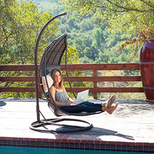 Outdoor Brown Wicker Hanging Chair with Cushions