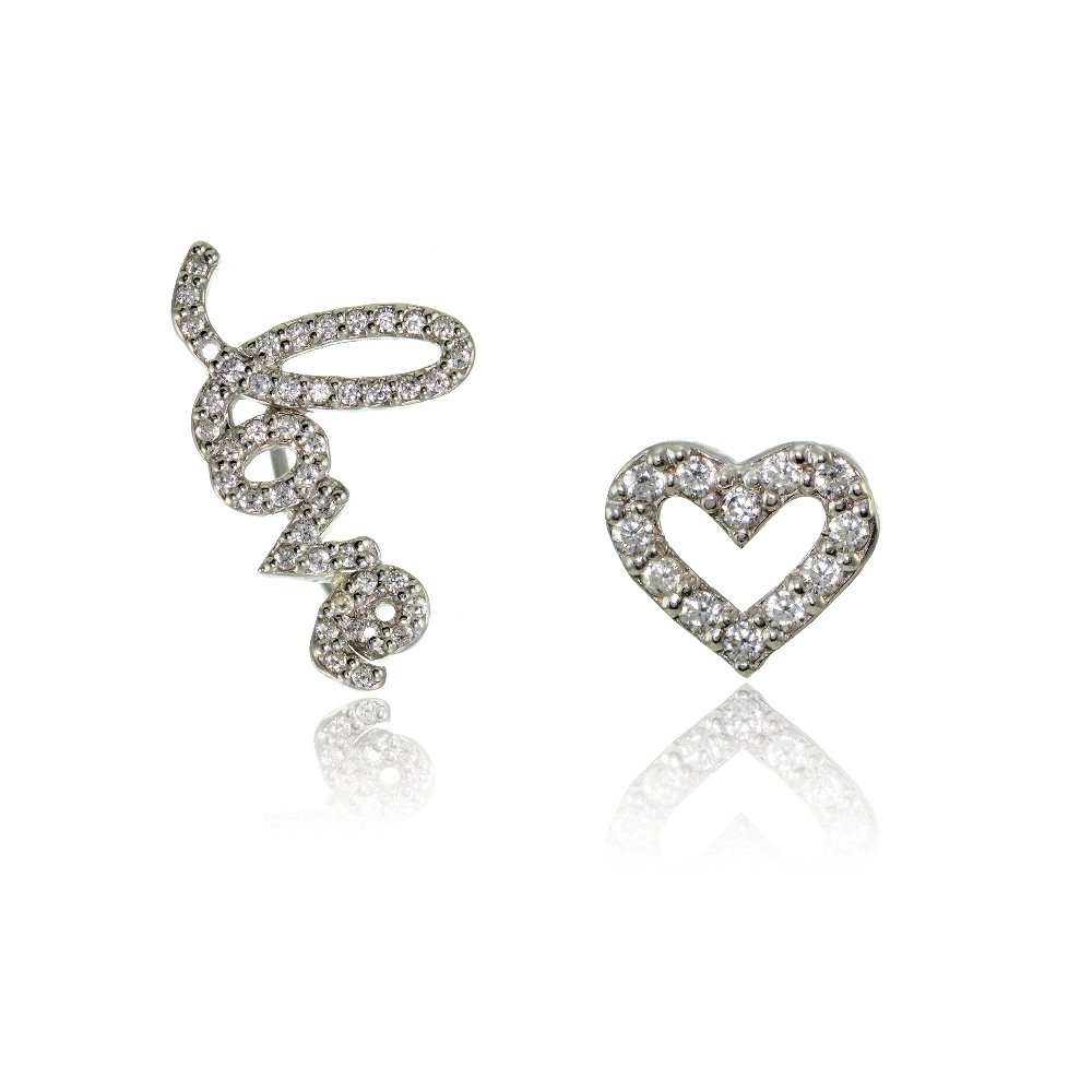 Sterling Silver Cubic Zirconia Heart Stud & LOVE Climber Crawler Earrings Set