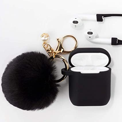 new arrival f85b3 cfa5a Airpods Case - Filoto Airpods Silicone Case Cover with Fur Ball  Keychain/Strap for Apple Airpod (Black)