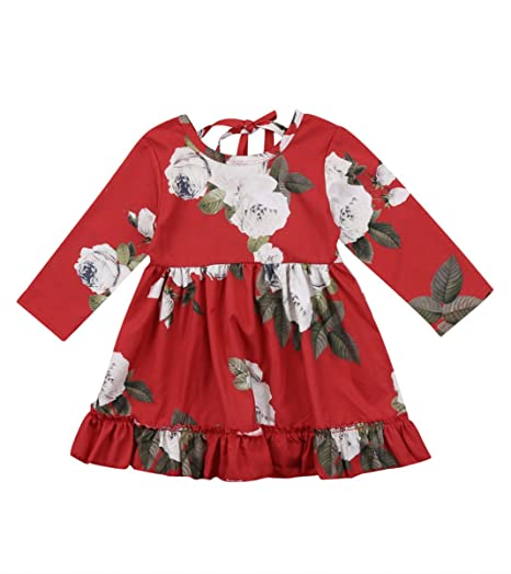 283beb27dbc3 Amazon.com  Urkutoba Toddler Baby Girl Party Casual Dress Red Floral ...