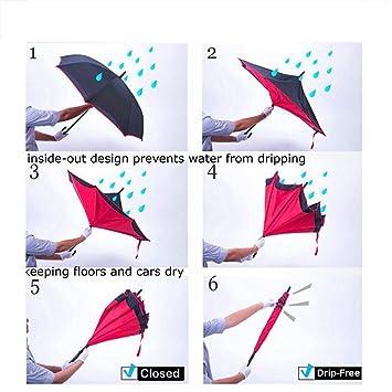 JJPRIME Paraguas Cortavientos, invertido, Plegable, de Doble Capa Auxiliar, con asa Estable DOLIROX. Protección contra la Lluvia, la Nieve, los Rayos ...