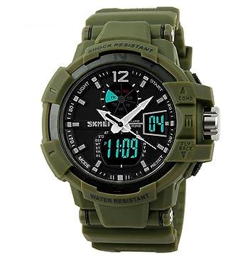 tonshen para hombre táctico multifunción reloj deportivo LED luz Dual tiempo Alarma S-shock militares relojes (verde): Amazon.es: Relojes