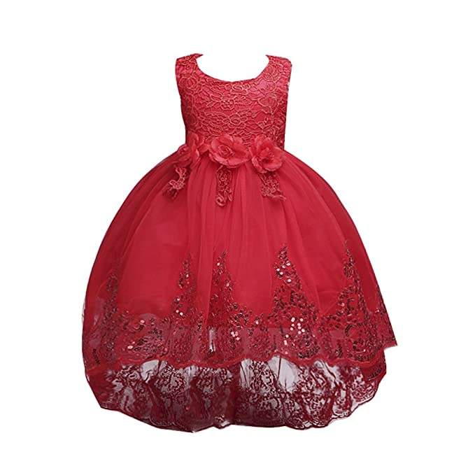 Vestido de Fiesta Niña Flor Encaje Lentejuelas para Boda Fiesta Ceremonia, Rojo, 4-