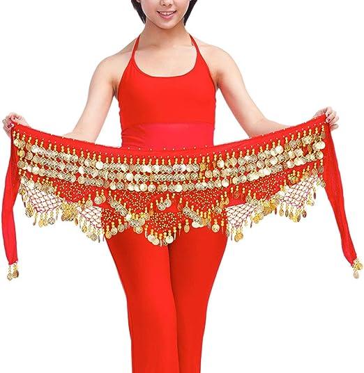 supvox Mujer triangular Danza del Vientre cadera Toalla Falda con ...
