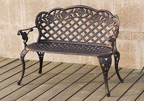 1PerfectChoice Outdoor Patio Garden Park Metal Iron Bench Floral Weaved Pattern Bronze