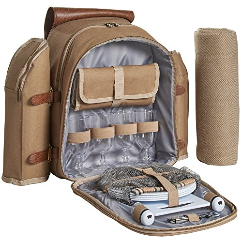 VonShef Picnic Backpack for 4 Person Outdoor Camping Rucksack with Dining Set, Cutlery Set, Removable Insulated Cooler Bag and Large Waterproof Picnic Blanket Khaki Canvas (Picnic Bag Set)